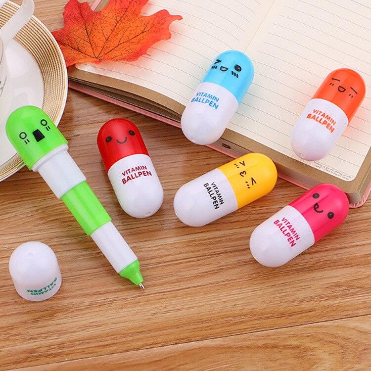 1 Uds. Bolígrafo para píldoras para estudiantes, bolígrafo retráctil con expresión de dibujos animados, cápsula lápiz de papelería creativa bolígrafo Kawaii escolar