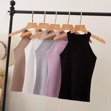 Summer Women Slim Knitting Halter Camisole Tops Female Bodycon Knitted Tanks Sleeveless Basic Solid T shirts  8017