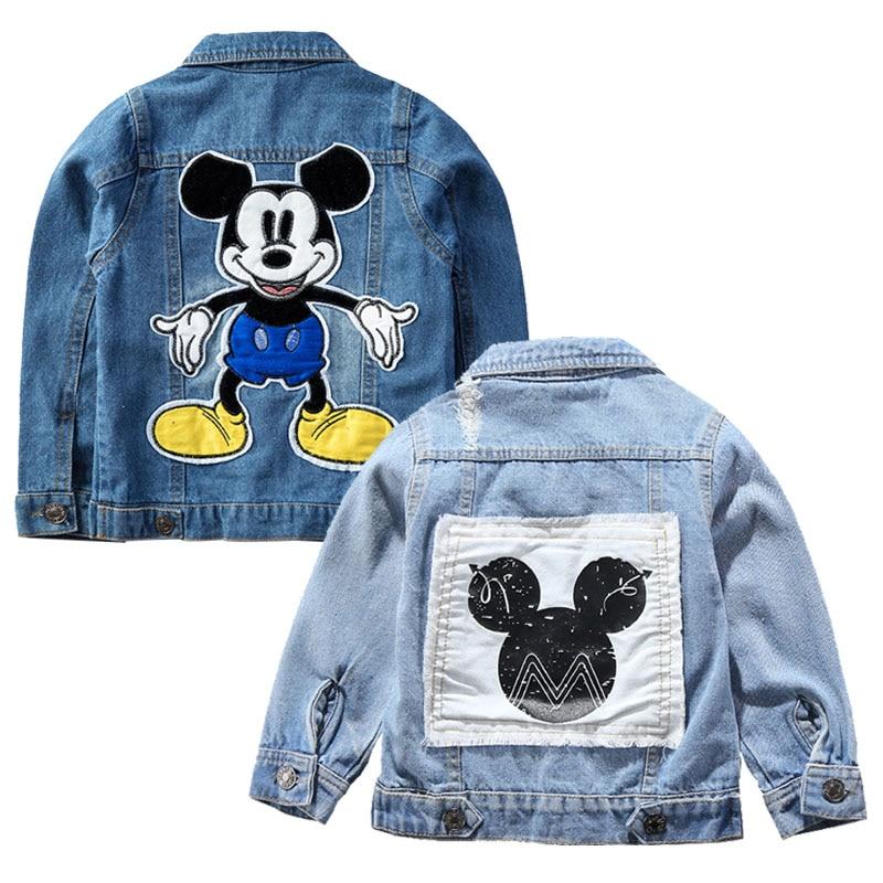 Джинсовая куртка с Микки Маусом для мальчиков, модные пальто, детская одежда, осенняя одежда для маленьких девочек, верхняя одежда, джинсовы...