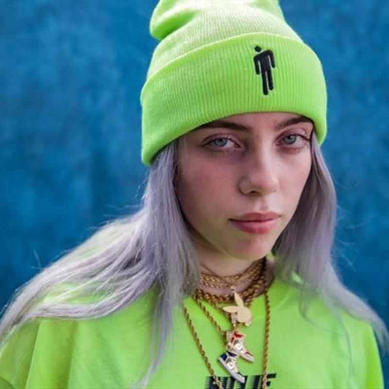 ¡Novedad! Gorro de punto de Billie Eilish, 4 colores, para mujer, para uso diario, de invierno, estilo Hip-hop