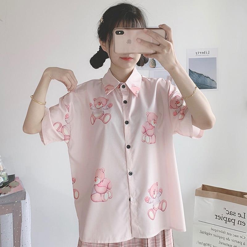 New Summer Shirts Women 2019 College Wind Cute Bear Print Shirts Loose Long Sleeve Harajuku Sweet Pink Cartoon Shirts Female