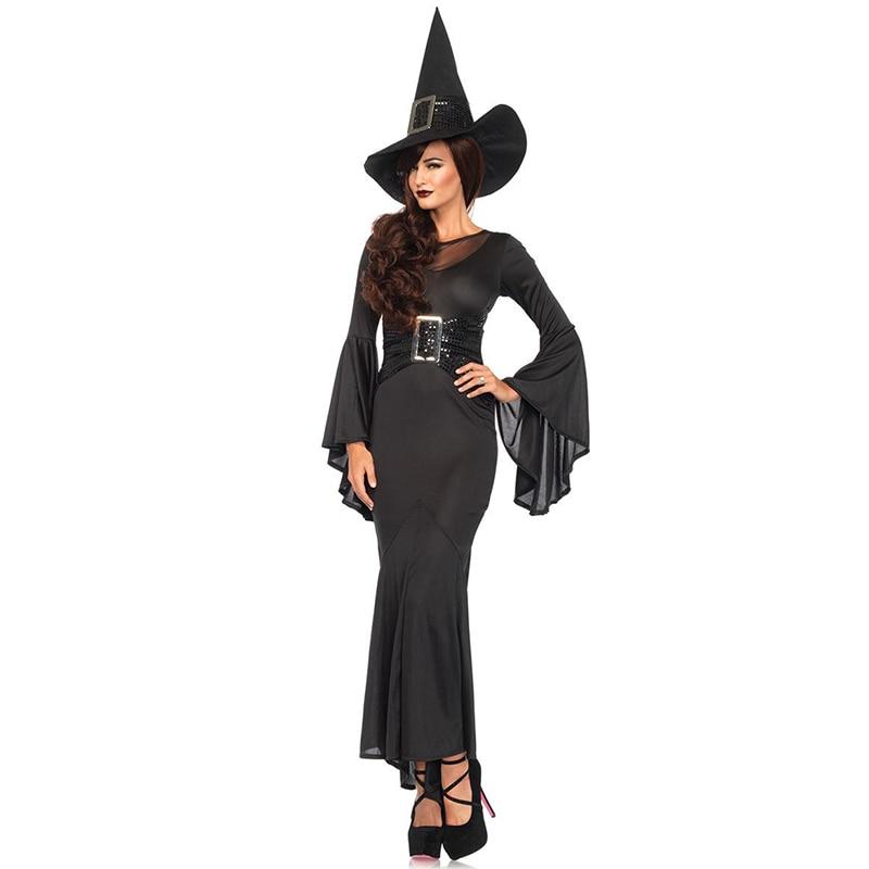 Disfraz de bruja malvada negra de Halloween Cosplay para mujeres adultas carnaval fantasía vestido de fiesta para damas bruja Cosplay traje