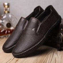 Zapatos formales de moda de verano para hombres, punzón de encaje transpirable, zapatos de vestir de oficina, sandalias de cuero casuales genuinas yu789