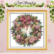 Une couronne de roses à motifs compte   Point de croix 11CT 14CT, ensemble de point de croix, vente en gros, Kit de broderie