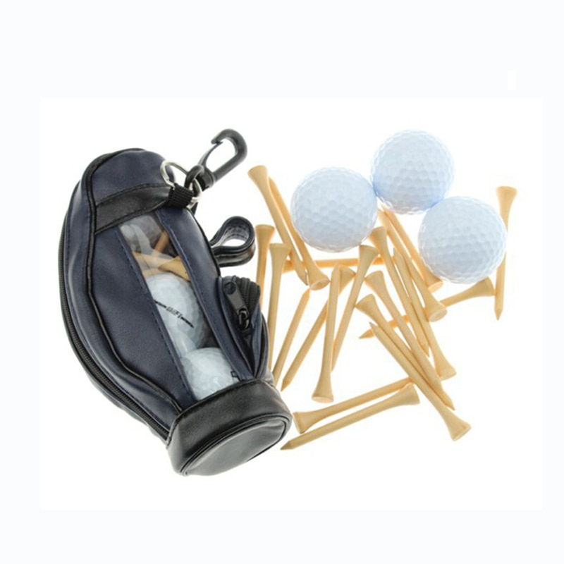 CRESTGOLF PU Golf Ball Holder Small Golf Ball Bag with Hook & 3 Pcs Golf Training Balls 15pcs Wooden Golf Tees 500 Pcs/Lot