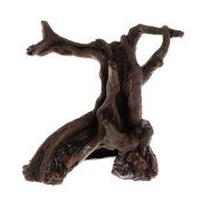 Acuario de madera muerta de madera Artificial resina de pescado tanque decoración adornos planta árbol reptil caso tocón raíz decoración suministros