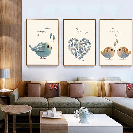 Cuadro en lienzo con impresiones de arte grande A4 con diseño de pájaros nórdicos minimalistas de amor y sueño moderno, cartel para habitación de niños, decoración de pared para el hogar