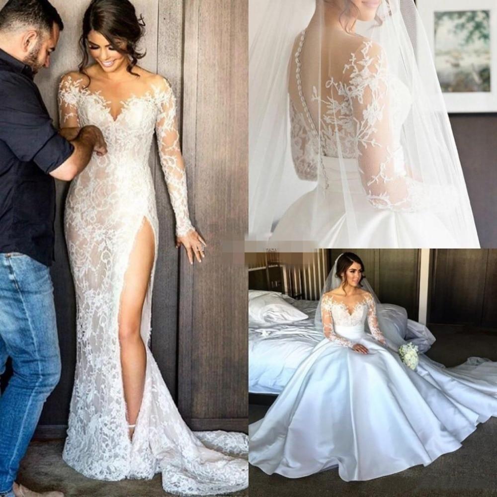 Sexy Illusion Appliques Lace Mermaid Wedding Dresses Long Sleeve Scoop Detachable Train Bride Dress Custom Vestido De Noive