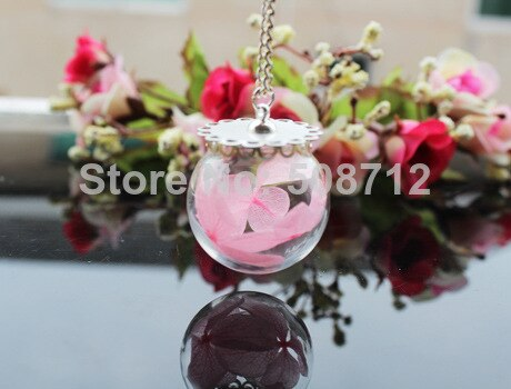 30MM Glass Globe Flower Necklace, Hand Blown, Glass Bulb,Make A Wish,Glass Orb Pendant