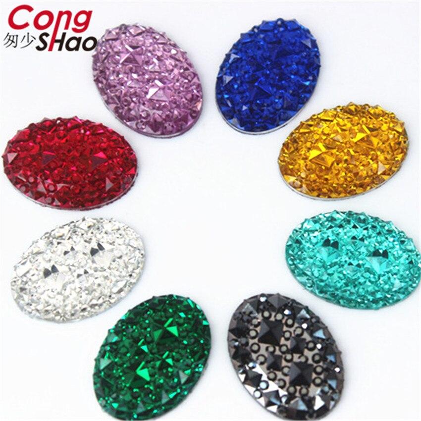 Cong Shao 100 Uds. 13*18mm resina de formas ovaladas piedras de estrás cuentas de cristal de espalda plana para manualidades de decoración de ropa CS600