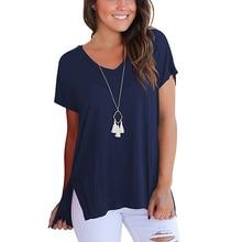 T-Shirt Women 2020 Short Sleeve Basic Solid Shirt Cotton Female Loose Top Pure Summer Casual Loose Tshirt V Neck Blusas Feminin
