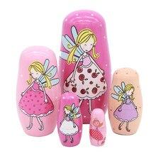 Rosyjski matrioszki kreskówka marzenie Elf Style Matryoshka lalki wykonany z lipy dekoracji domu lalki kreatywny mały dziewczyny prezent urodzinowy