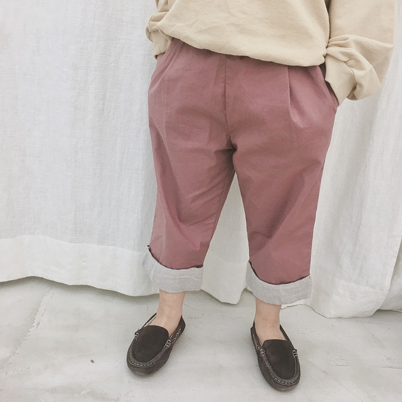 Nuevos pantalones de algodón lavados para niños de primavera 2019, pantalones informales rectos para niños y niñas, ropa para bebés