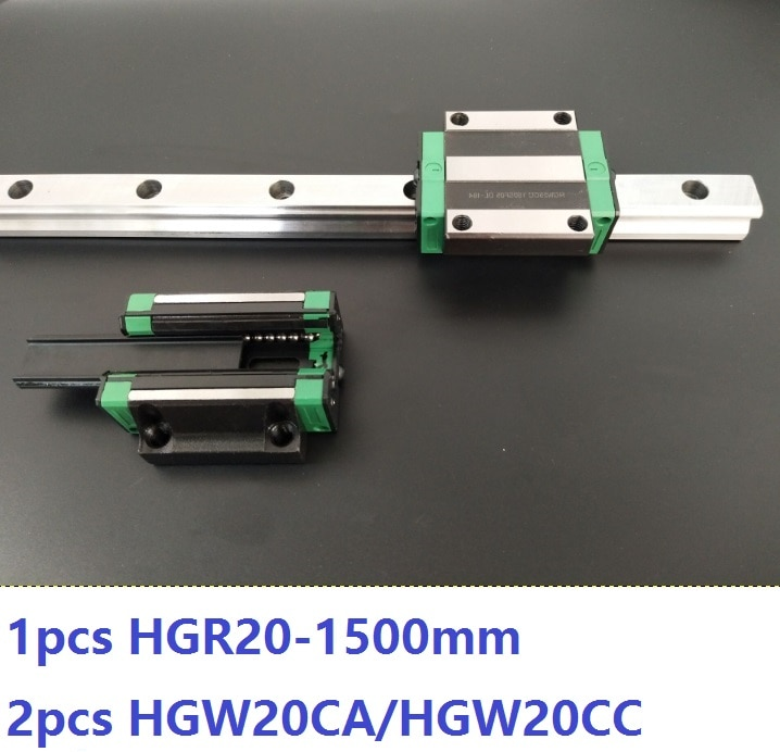 1 قطعة دليل خطي السكك الحديدية HGR20 1500 مللي متر + 2 قطعة HGW20CA/HGW20CC خطي كتل النقل ل CNC راوتر أجزاء مصنوعة في الصين