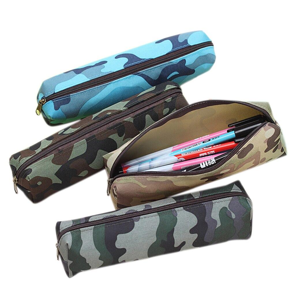 4 patrón de camuflaje militar escuela lápiz caso bolsa de lápiz bolsas de material de papelería, lápiz de la escuela suministros papelería bolsa tamaño 21*5,5 CM