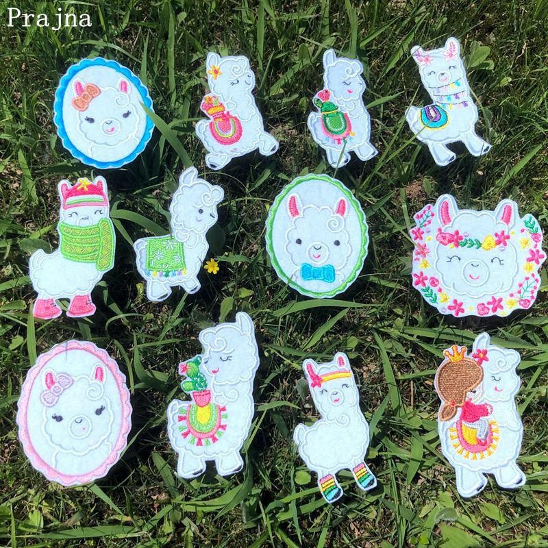 Патчи из мультфильма «лама» Prajna, железные патчи для одежды с радужной вышивкой в виде единорога, наклейки в стиле «сделай сам» для детей