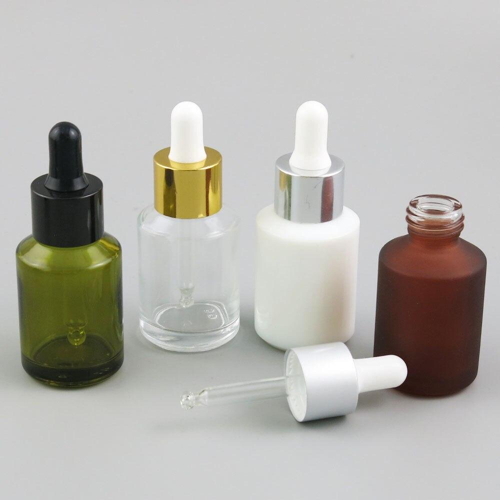 Bouteille e-liquide en verre brun clair vert lisse/givré 12x30 ml avec compte-gouttes huile essentielle contenants cosmétiques chimiques