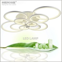 White Acrylic LED Ceiling Light Fixture Creative LED Rings Lustre Lighting Flush Mounted LED Circle Lamp for Living Room Bedroom