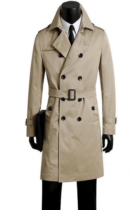 Männlichen graben mantel männer kleidung plus größe frühling und herbst langen graben design zweireiher mäntel männer khaki oberbekleidung mode