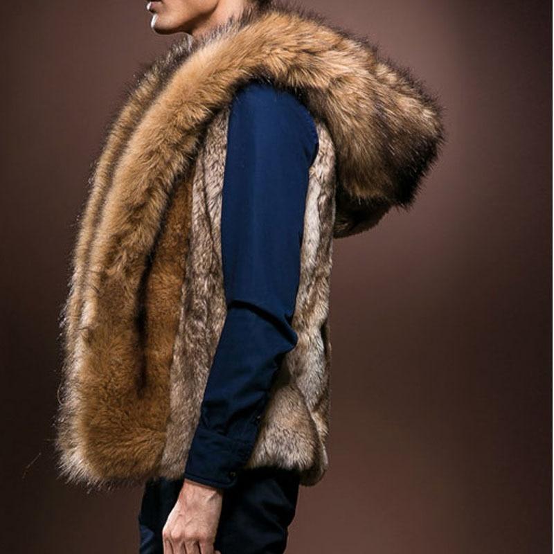 Chaleco de piel para hombres, chaleco de invierno 2020 para hombres, chaleco de piel sintética cálido para hombres, chaleco de moda de felpa con capucha, abrigo de piel de conejo salvaje de imitación