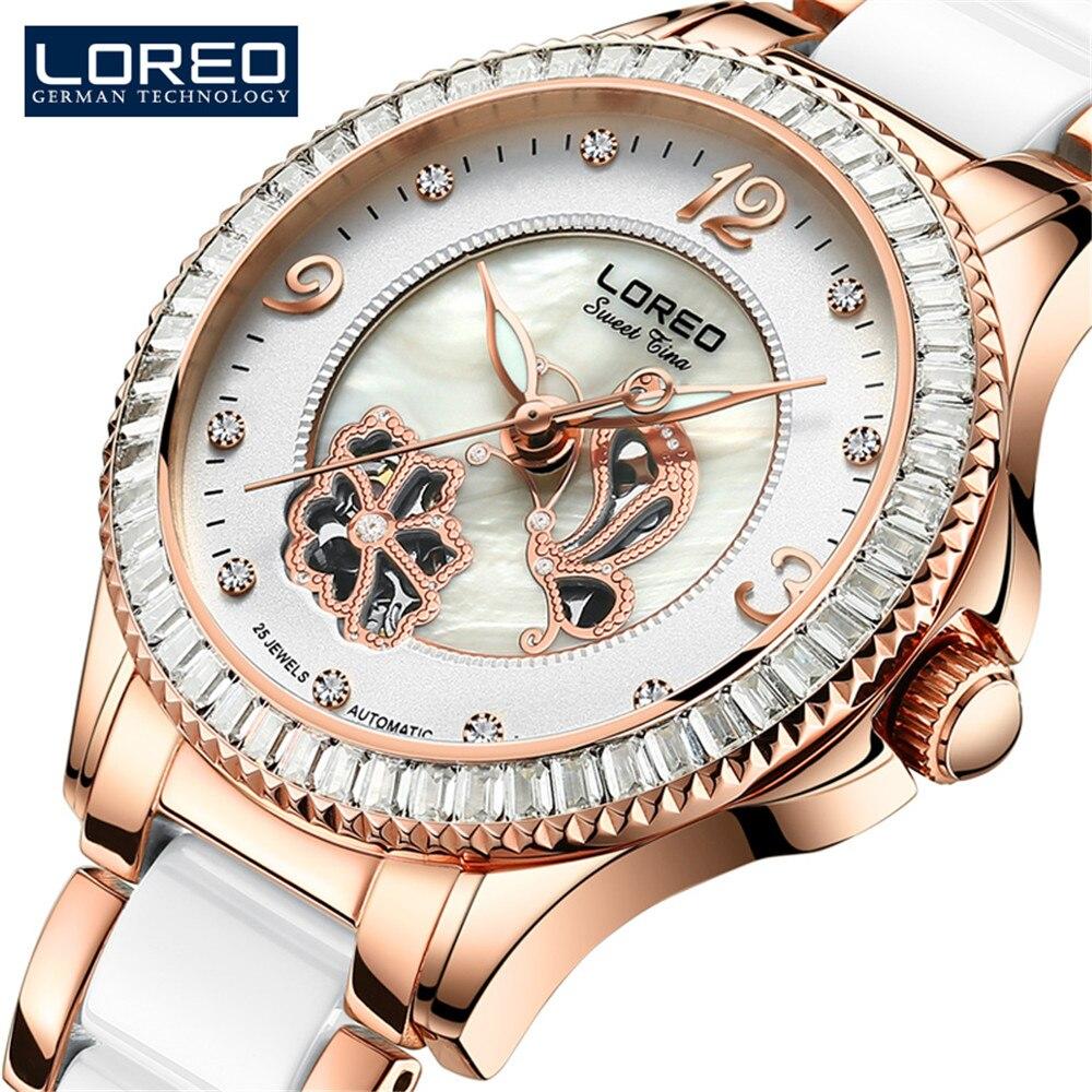 Women Watches Luxury LOREO Wrist watch relogio feminino Clock for Women Ceramic Steel Lady Rose Gold Mechanical Ladies Watch New enlarge