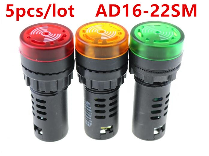 5pcs/lot AD16-22SM Flash LED Buzzer Indicator Light Buzzer Signal Lamp 22mm 12V 24V 220V 110V