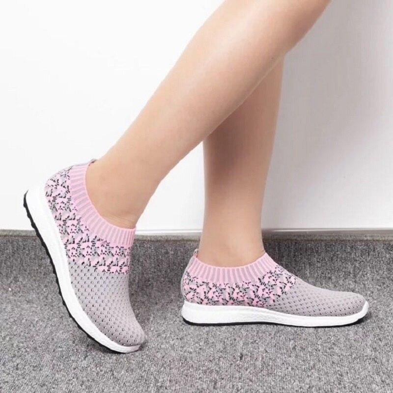 Zapatos informales de mujer verano 2019 zapatillas estilo malla blanca zapatillas estilo Soft Flats mujer moda transpirable suave zapatillas de mujer