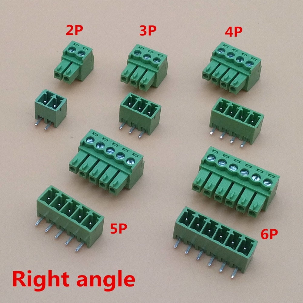 aliexpress.com - 10 sets 3.81mm 2/3/4/5/6/7/8 pin Right angle Terminal plug type 3.81 pitch connector pcb screw terminal block