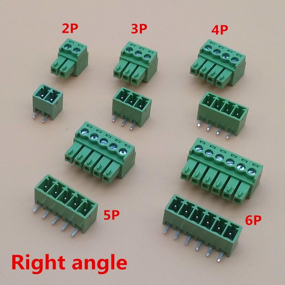 10 комплектов 3,81 мм 2/3/4/5/6/7/8 контактный угловой разъем типа 3,81 шаг разъем pcb винтовой клеммный блок
