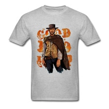 Clint Eastwood Bom Mau Feio masculina Tshirt T Shirt Dos Homens de Manga Curta T-shirt Hiphop Kpop Crewneck Algodão Plus Size Do Vintage T Camisas