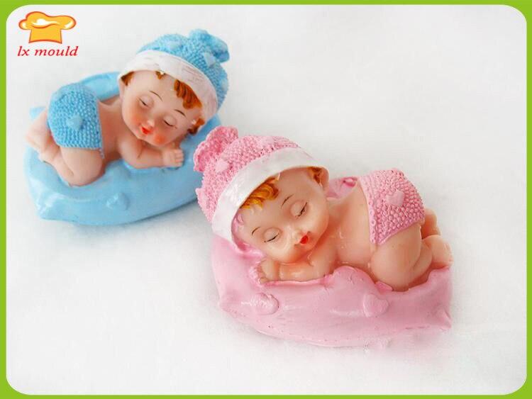 Muñeca herramientas de decoración de pasteles bebé encantador bebé grande bebés cumpleaños módulos de velas bebé almohada molde de silicona