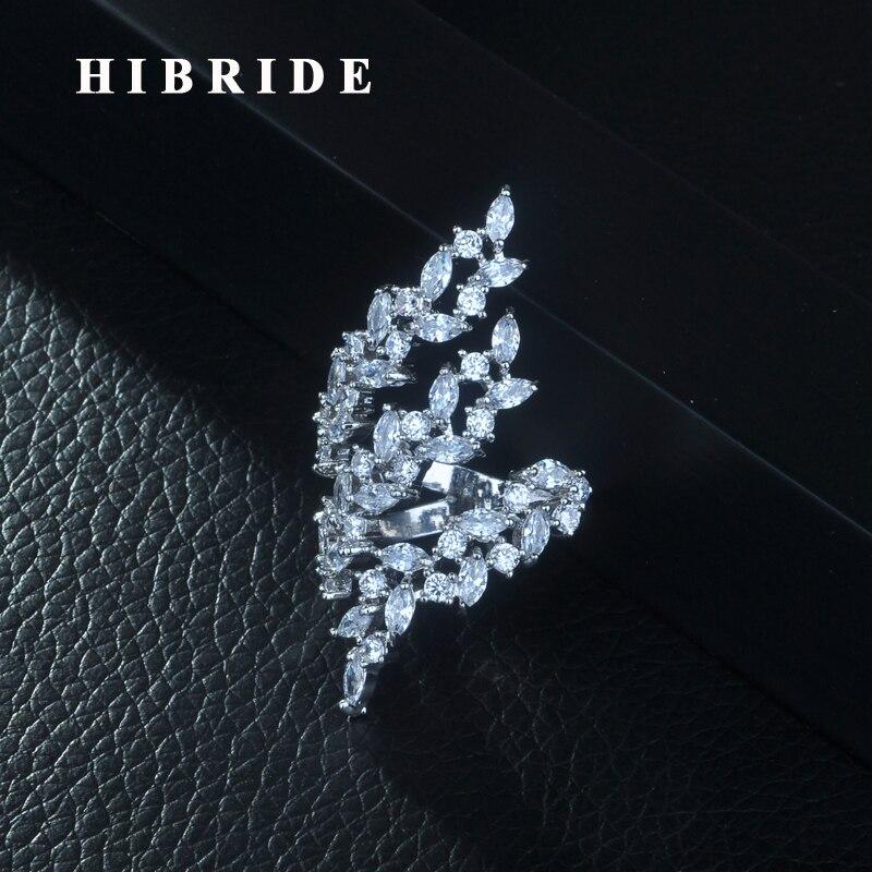 HIBRIDE nouveauté luxe AAA + cubique zircone anneau ouvert pour les femmes blanc couleur accessoires bijoux cadeaux livraison gratuite R-258