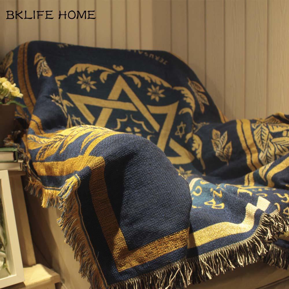 مفرش سرير قطني متعدد الوظائف ، بطانية مطبوعة بعلم إسرائيل ، لغرفة المعيشة وغرفة النوم