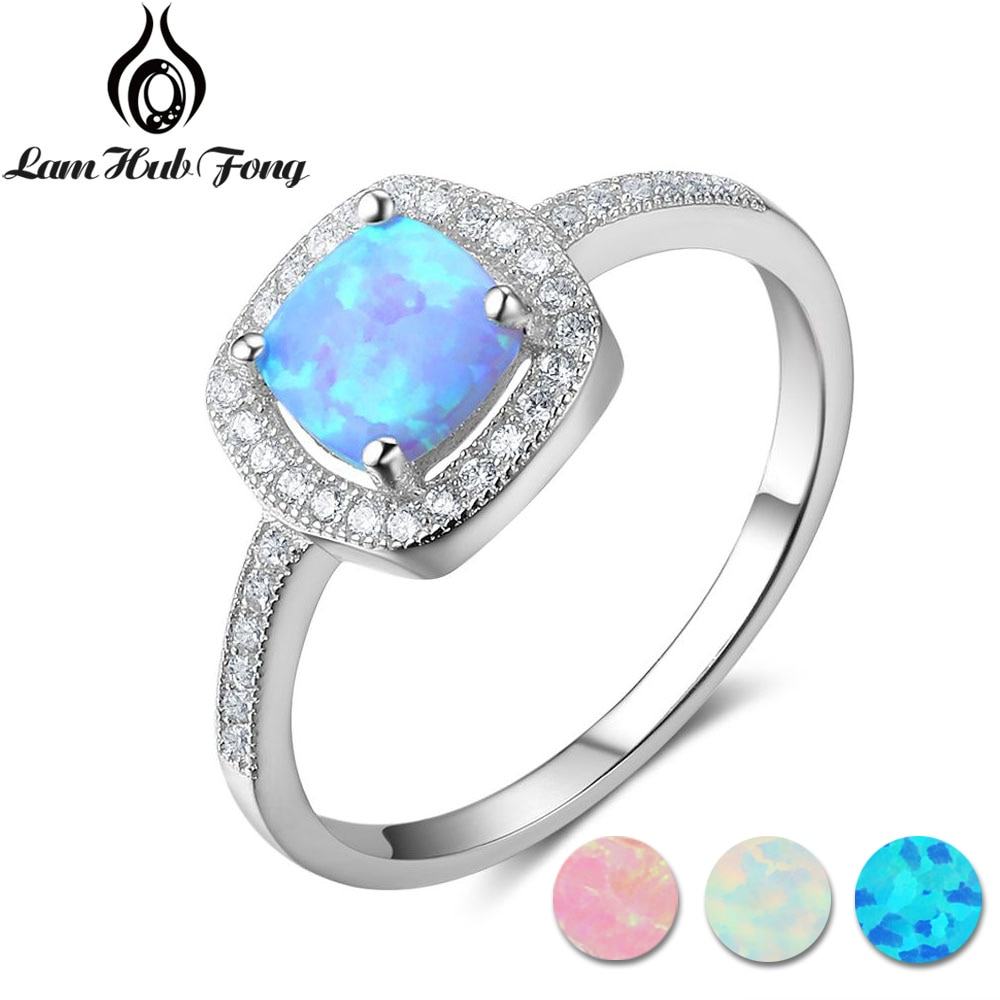 Anillos cuadrados clásicos de ópalo Rosa blanco y azul para mujer, anillo de dedo de Plata de Ley 925, joyería de compromiso para boda (Lam Hub FONG)