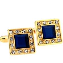 New Design Factory Price Retail Men's Cufflinks Copper Material Golden Color Blue Crystal Design Cuf