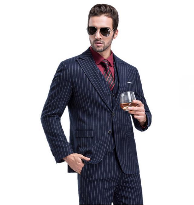 Мужские приталенные модные костюмы для отдыха, свадебные костюмы, мужской деловой пиджак, Блейзер, костюмы на заказ, комплект из 3 предметов,...