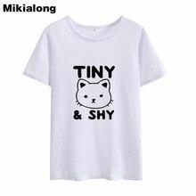 Mikialong dessin animé chat imprimé t-shirt femmes été 2018 minuscule timide Kawaii drôle t-shirts femmes noir blanc coton Camisetas Mujer