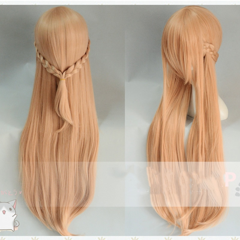 Anime Sword Art Online Yuuki Asuna Long wig Cosplay Costume SAO Yuki Asuna Women Synthetic Hair Halloween Party Role Play wigs