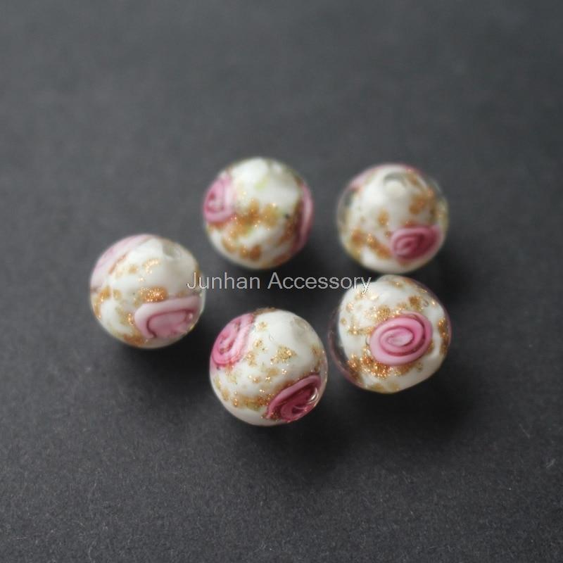 10 Pçs/lote 10mm 12mm Artesanal Lampwork Contas Flor Cor Branca Com Ouro em pó Estilo Japonês para a jóia