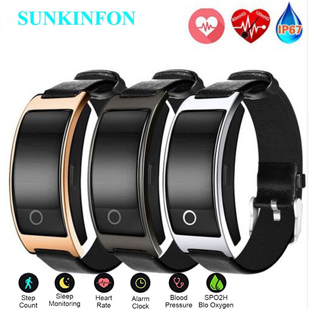 Pour iPhone 8 Plus X Bracelet Intelligent pression artérielle moniteur de fréquence cardiaque podomètre montre-Bracelet Intelligent Fitness Bracelet Tracker
