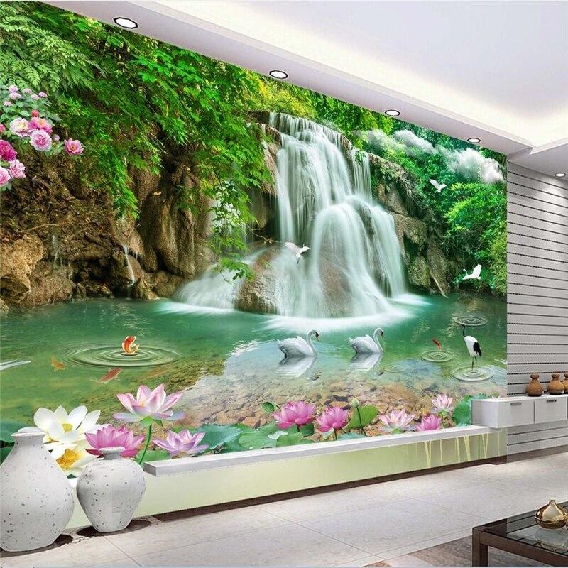 beibehang Custom Photo Wallpaper Mural Wall Sticker Stereo Landscape Waterfall Landscape 3D TV Wall papel de parede 3d para