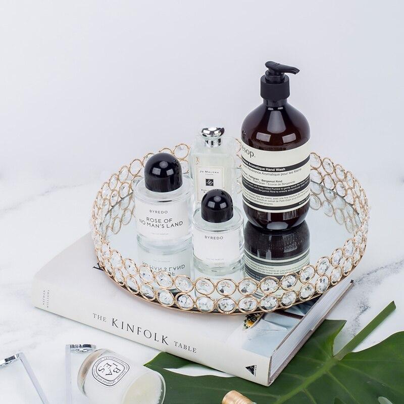 Bandeja de espejo redondo con borde de cristal, plato para cupcakes/paleta receptora de maquillaje de 10 pulgadas/12 pulgadas, decoración del hogar, decoración de mesa de pastel