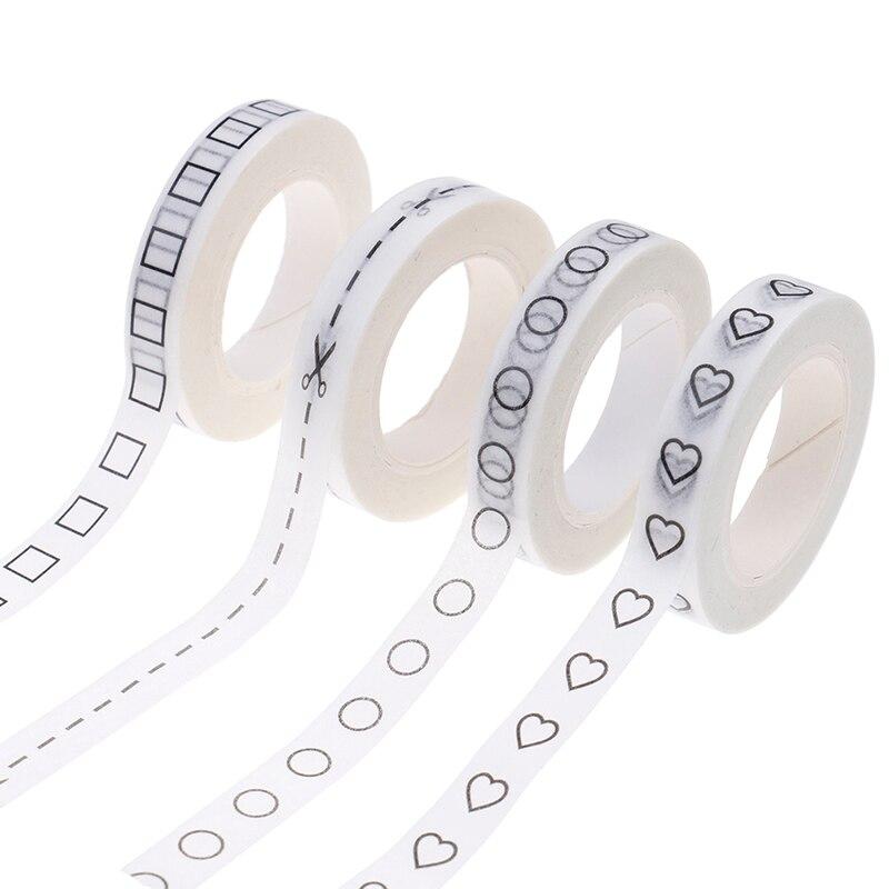 1 Uds. Cinta de papel adhesivo lagrimal para oficina, libro para bricolaje, diario creativo, amor negro, corazón, Washi, cinta adhesiva con gran nivel de adhesión