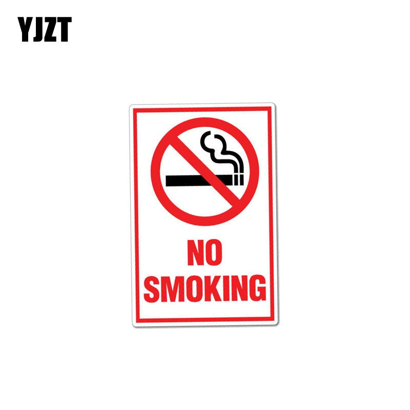 YJZT 8.2CM*12.7CM Creative Funny Warning Car Sticker No Smoking Decal PVC 12-0998