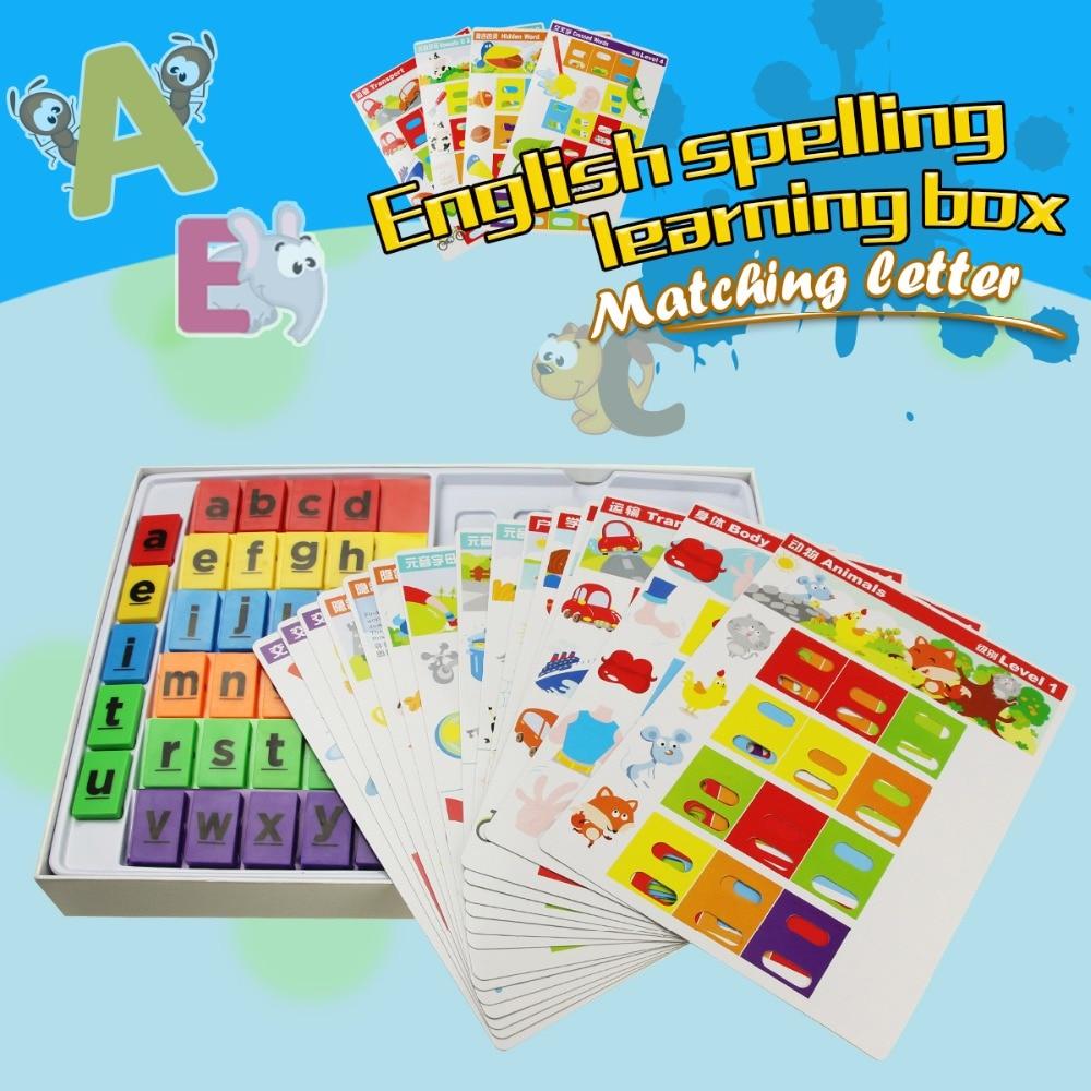 Juegos de aprendizaje de inglés palabras juego de ortografia Montessori juegos de mesa alfabeto aprendizaje cerebro Formación educativa juguetes para niños