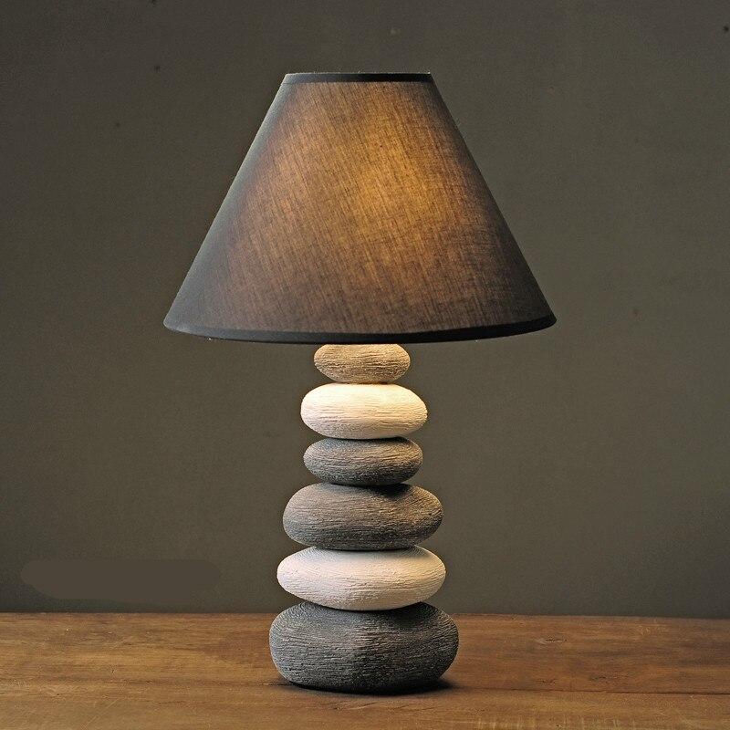 Lámpara de mesa Dimmerable E14 retro nórdico creativo americano hecho a mano con piedra cerámica para sala de estar dormitorio H 36/42cm 1072