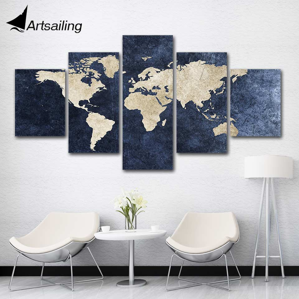 ArtSailing 5 قطعة الملصقات والمطبوعات حائط لوح رسم الفن مجردة خريطة العالم صورة لغرفة المعيشة ديكور المنزل F679