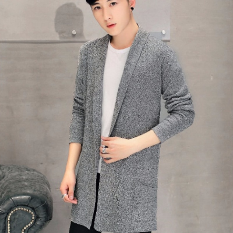 2018 черный длинный зимний мужской свитер брендовая одежда кардиган с v-образным вырезом мужские свитера с карманами мужские вязаные свитера ...