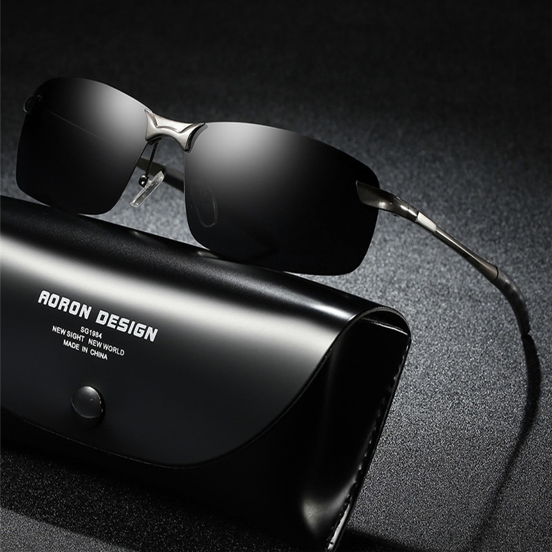 AORON 2019 Mens Glasses Polarized Sunglasses Male Aviation Metail Frame Quality Sun Glasses Outdoor