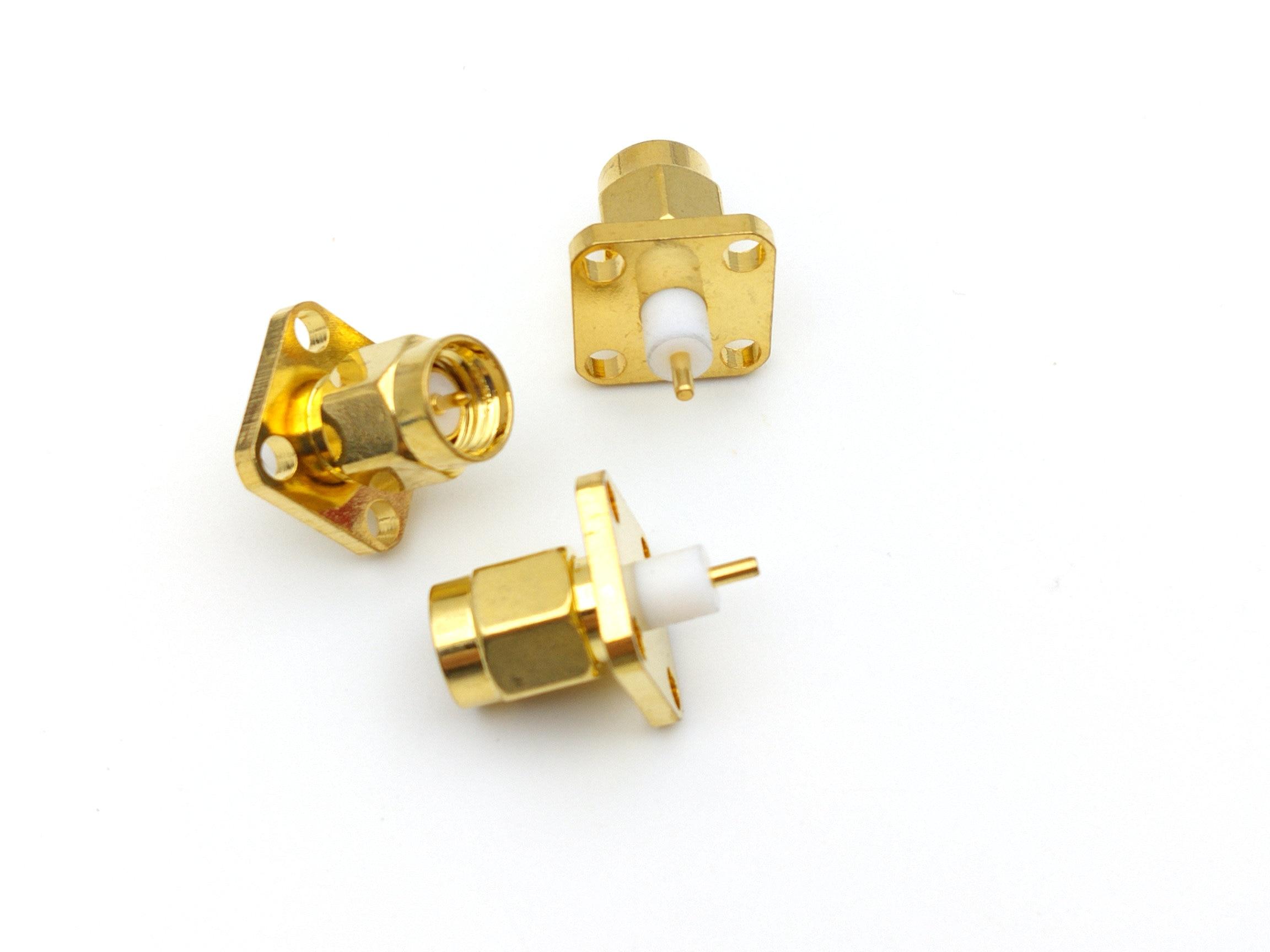 100 pcs sma plugue macho 4 buraco panel mount curto dieletrica e solda pos conectores rf
